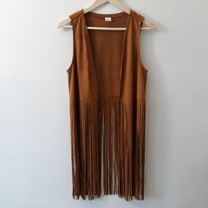 Jackets & Blazers - Joni Peter's Couture Faux Suede Fringe Vest